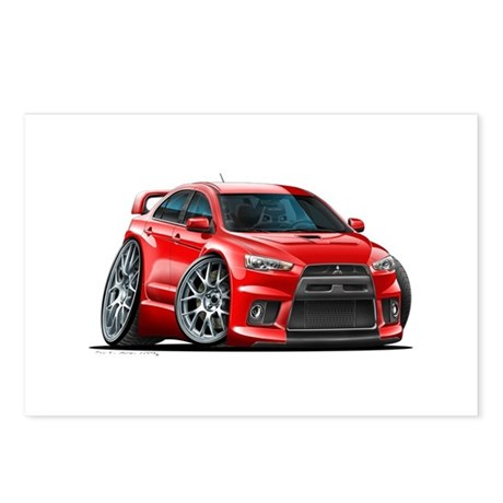Mitsubishi Evo Red Car Postcards (Package of 8)