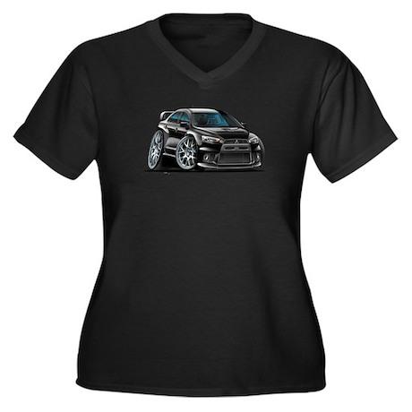 Mitsubishi Evo Black Car Women's Plus Size V-Neck