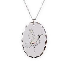 PEACE DOVE - OLIVE BRANCH Oval Charm Necklace