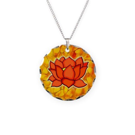 COOL LOTUS FLOWER Necklace Circle Charm