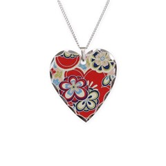 Light Blue and Red floral Necklace Heart Charm