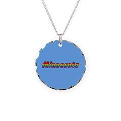 Rainbow Minnesota Text Necklace