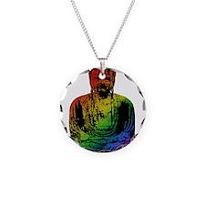 Rainbow Buddha Necklace Circle Charm