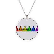Row of Rainbow Buddha Statues Necklace