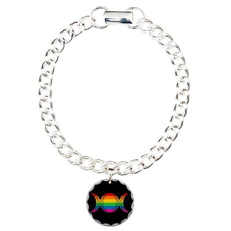 Rainbow Triple Goddess Symbol Charm Bracelet, One