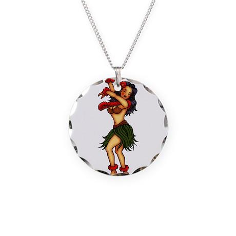 Hula Dancing Girl Tattoo Art Necklace Circle Charm