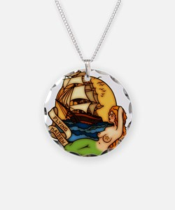 Mermaid n Pirate Ship Tattoo Necklace
