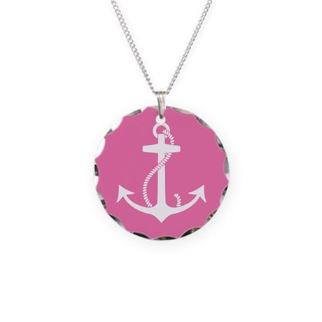 Pink Anchor Necklace Circle Charm