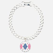 Cute Pink Blue Argyle Bracelet