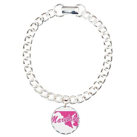 Pink Maryland Charm Bracelet, One Charm