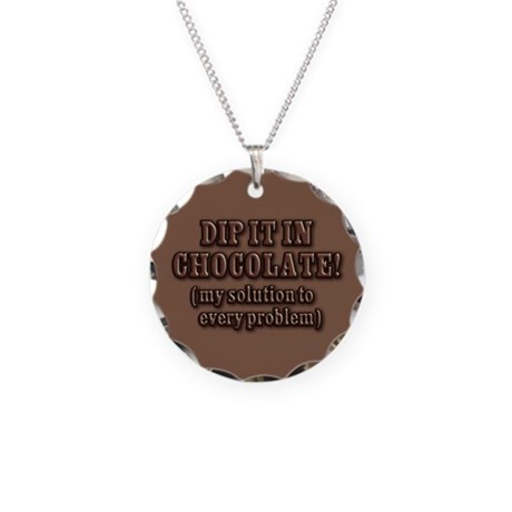 Dip It In Chocolate Necklace Circle Charm