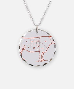 Retro Beef Cut Chart Necklace Circle Charm