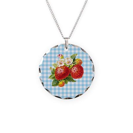 Retro Strawberry Necklace Circle Charm