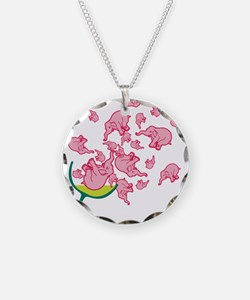 Glass of Pink Elephants Necklace