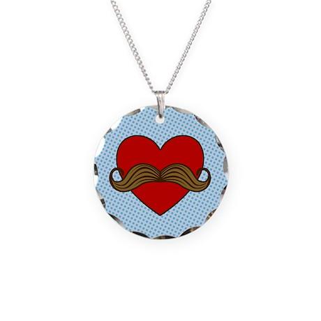 Moustache Valentine Heart Necklace Circle Charm