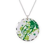 Shamrocks and Swirls Necklace Circle Charm