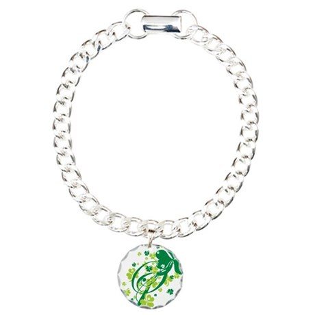 Shamrocks and Swirls Charm Bracelet, One Charm