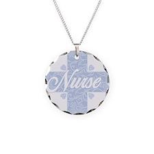 Nurse Blue Lacy Cross Necklace Circle Charm