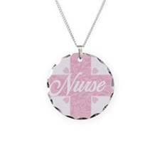 Nurse Pink Lacy Cross Necklace Circle Charm