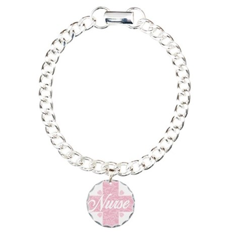 Nurse Pink Lacy Cross Charm Bracelet, One Charm