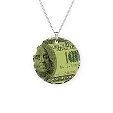 Hundred Dollar Bill Necklace Circle Charm