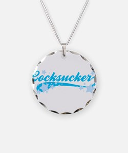 Blue Text Cocksucker Necklace Circle Charm