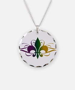 Purple Green Yellow Swirl Fle Necklace