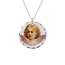Golden Haired Victorian Angel Necklace