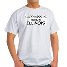 Happiness is Illinois Ash Grey T-Shirt