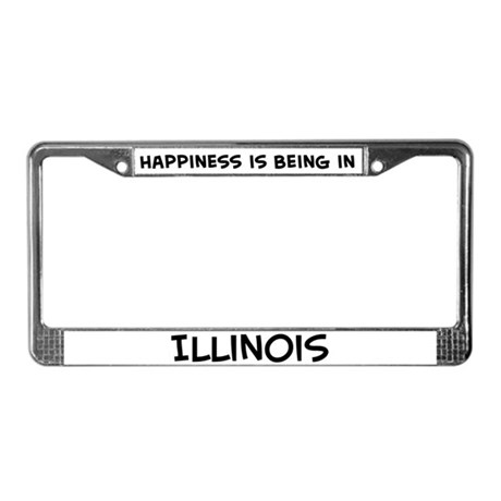 Happiness is Illinois License Plate Frame
