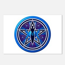 Blue-Purple Goddess Pentacle Postcards (Package of
