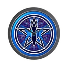 Blue-Purple Goddess Pentacle Wall Clock