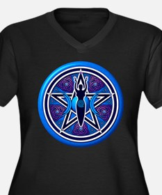 Blue-Purple Goddess Pentacle Women's Plus Size V-N