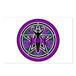 Purple-Teal Goddess Pentacle Postcards (Package of