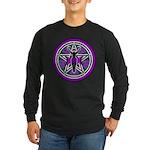 Purple-Teal Goddess Pentacle Long Sleeve Dark T-Sh