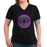 Purple-Teal Goddess Pentacle Women's V-Neck Dark T