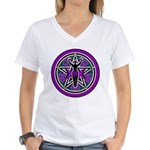 Purple-Teal Goddess Pentacle Women's V-Neck T-Shir