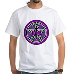 Purple-Teal Goddess Pentacle White T-Shirt