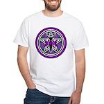 Purple-Teal Goddess Pentacle White T-Shirt