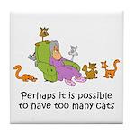 Too Many Cats Tile Coaster