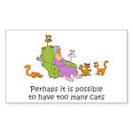 Too Many Cats Rectangle Sticker