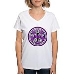 Purple Goddess Pentacle Women's V-Neck T-Shirt