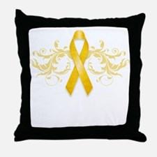 Gold Ribbon Throw Pillow