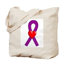 Purple Ribbon Heart Tote Bag