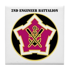 DUI - 2nd Engineer Bn with Text Tile Coaster