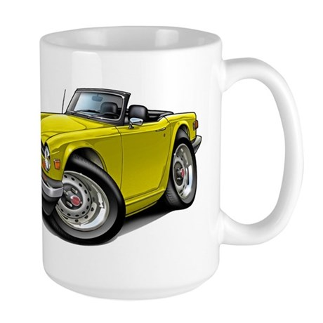 Triumph TR6 Yellow Car Large Mug