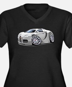 Veyron White Car Women's Plus Size V-Neck Dark T-S