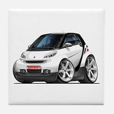 Smart White-Black Car Tile Coaster