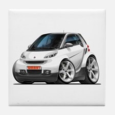Smart White Car Tile Coaster