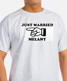 Just Married Melany Ash Grey T-Shirt